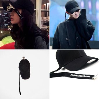 Harga Korean GD The Same Paragraph Concert Tie Belt Black Crooked Baseball Cap(blue) - intl