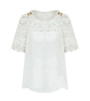 Harga Eozy Round Collar Chiffon Shirts Women Lace Short Sleeves Blouses Solid Color Plus Sizes S,M,L,XL,XXL(White) - intl
