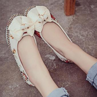 Harga LALANG Female Bow Flower Colorful Casual Flats Embroidered Shoes