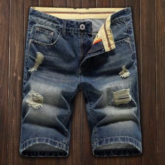 Harga Men Summer Fashion Washing Holes Denim Short Men's Short Jeans Pants - intl