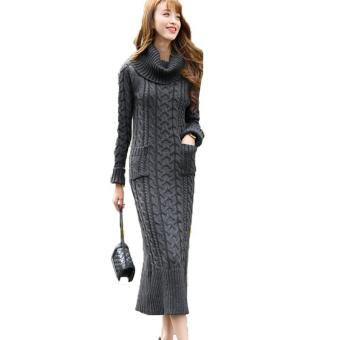 Harga Winter Sweater Women Knitted Warm Dress (Dark Grey and High Collar) - intl