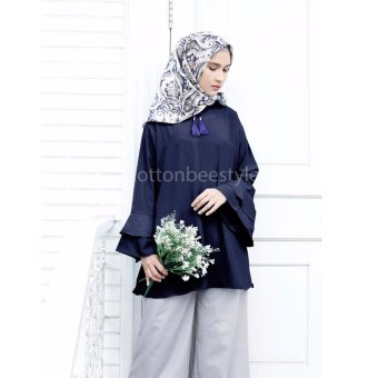 Harga Cotton Bee Apparel Beverly Slevee Blouse - Navy Blue