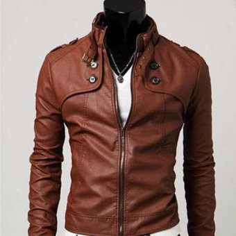 Harga Men Stand Collar Slim Leather Jacket - intl