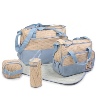 Harga 5 IN 1 Multifunctional Mother Shoulder Bag For Baby Nursery Changing Tote Mummy Bag Diaper Bags (Color:Light blue)