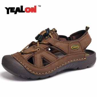 Harga YEALON Genuine Leather Outdoor Hiking Sandals Shoes Waterproof Summer Shoes Mens Walking Trekking Shoes Beach - intl