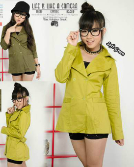 Harga kyoko fashion coat green-(soft green)