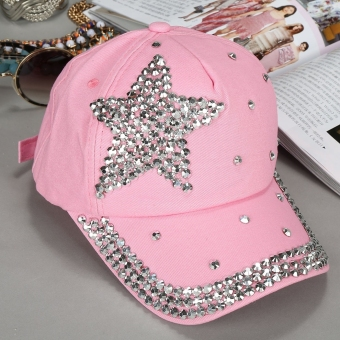 Harga Yika Kids Star Shaped Rhinestone Baseball Cap (Pink) - intl