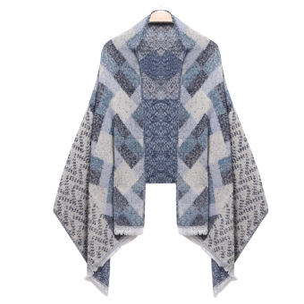 Harga Yika Women Plaid Quilted Shawl Wrap Long Scarf (Blue) - intl