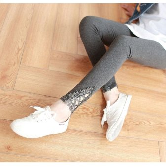 Harga Spring Thin Pregnant Women Pants 9 Points Pants Care Belly Lace Elastic Pants (gray) - intl