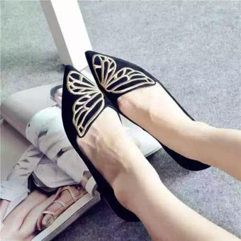 Harga Arlaine Suede Butterfly Flat Shoes [Black]