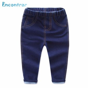 Encontrar Boys Elastic Solid Soft Jeans Washed Pants 80cm-130cm (Dark Blue) - intl