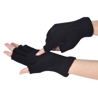 Harga Men Black Knitted Stretch Elastic Warm Half Finger Fingerless Gloves