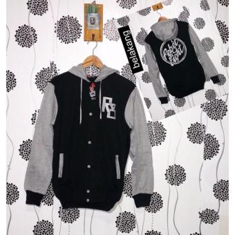 Harga Jacket Hodie - R8 Button Black Misty - Fleece