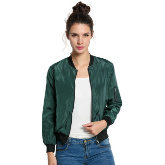Harga Yika Women Long Sleeve Front Zipper Jacket (Army Green) - intl