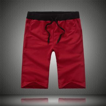 Harga Men's Draw-String Sports Athletic Shorts (Red) - intl