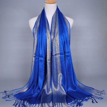 Fashion Women Ladies Shade Scarf Stole Shawl Wrap Soft Cotton Scarves Accessory Sapphire Blue - intl