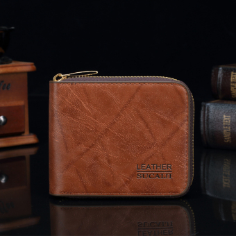 Harga The Short Man And Imitation Leather Zipper Wallet Card Set Of Korean Version Of The New Multi Card (Color:Dark Brown)