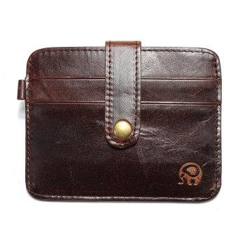 Mini PU Kulit Pria Dompet Tipis ID Pemegang Kartu Kredit Dengan Uang Saku  Tas Klip Kopi ada201b14f