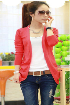 Harga OEM Irregular Hem Long Sleeve Knit Sweater (Red)