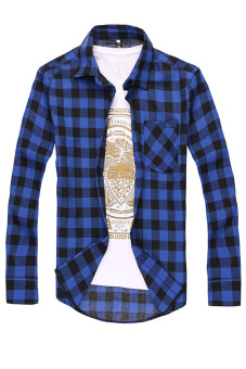 Casual Plaid Button-up Long Sleeve Shirt (Dark Blue)