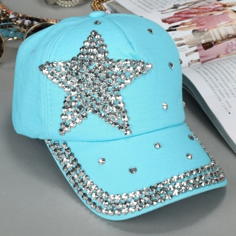 Harga Yika Kids Star Shaped Rhinestone Baseball Cap (Blue) - intl
