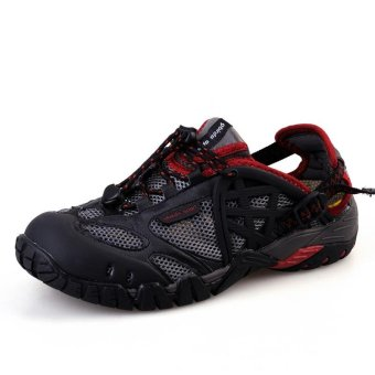 Harga PATHFIDNER Men's Trail Sandals Waterproof Hiking Shoes Light Mountain Climbing Shoes Wading Shoes-Black - intl