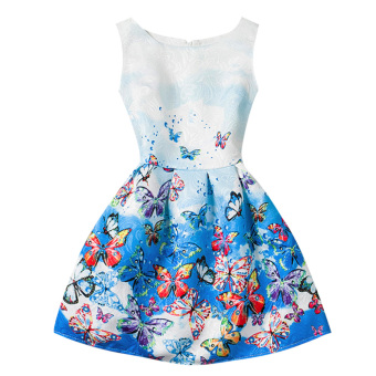 Harga Baby Girls Sleeveless Butterfly Printed Dress (Blue)