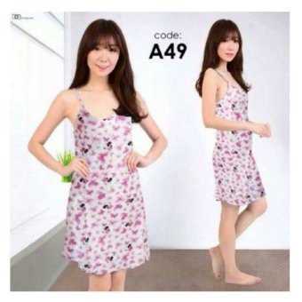168 Collection Baju Tidur Piyama Butterfly Dress Daster-Pink