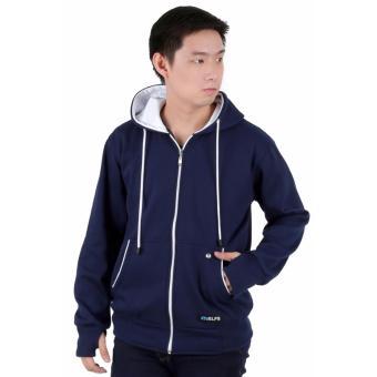 ... Elfs Shop Jaket Sweater Hoodie List Pria Fleece Biru Dongker