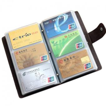 Harga Boshiho® Leather Credit Card Holder Business ID Card Case Book Style 90 Count Name Card Holder Book (Brown) - Intl