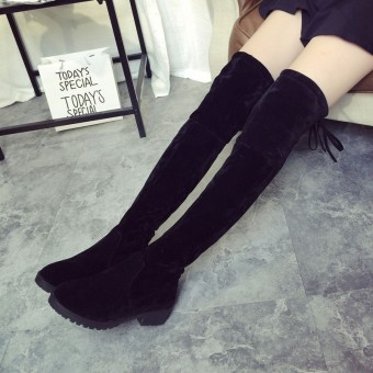 Harga Brand New Women's Over Knee Slim High Boot Lace Up Flats Long Thigh Boots Shoes - intl