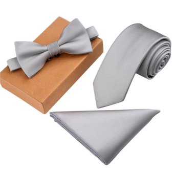Harga Men's Bow Tie Set Business Tie with Pocket Square & Gift Box - Silver - intl