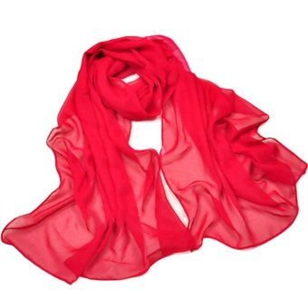 Women's Long Soft Summer Spring Chiffon Scarves Ladies Beach Scarf Red