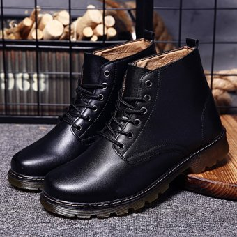 Harga Genuine Leather Men Shoes Fashion Ankle Boots Comfortable Martin Boots Waterproof Tooling Boot Soft Leather Man Shoe (Black) - intl