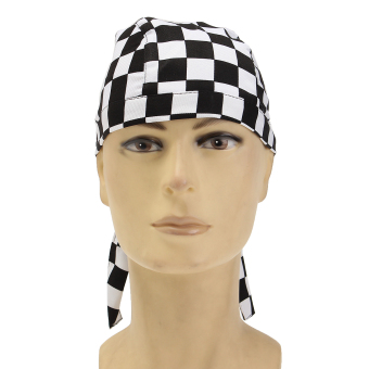 Harga Pirate Skull Cap Chef Hat Professional Catering Various Colourful Waiter Chef Black and White Grid - intl