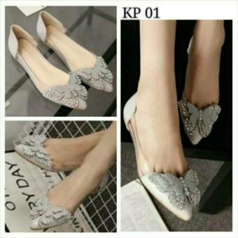 Harga Arlaine Butterfly Flat Shoes [Grey]