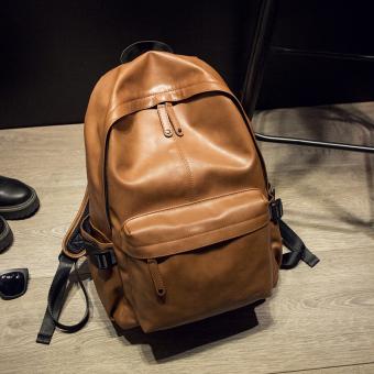 Tas pria kulit pria PU ransel maupun tas Travel - coklat - International