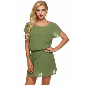 Harga Supercart Zeagoo Women Batwing Short Sleeve Drawstring Solid Loose Short Chiffon Dress ( Green )