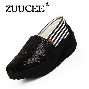 Harga ZUUCEE Shake Shoe Canvas Shoes Casual Sneakers Sushi Big Shoes Women's Shoes (black)