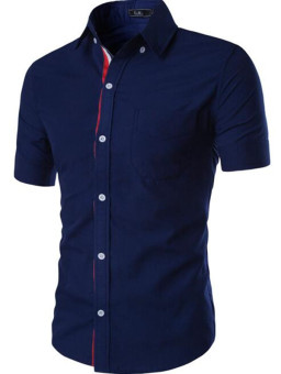 Summer men's casual shirt ribbon decoration concise fashion shirt dark blue