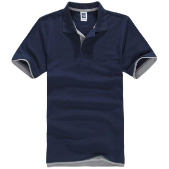 Men's Polo ShirtShort Sleeve Golf Tennis Shirt(Navy blue+Gray) - intl