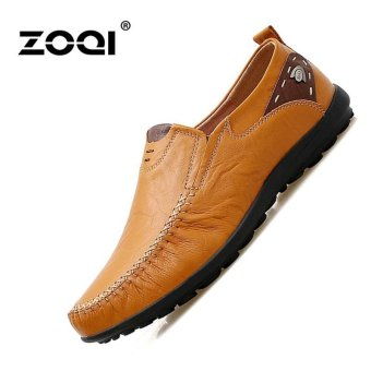 Harga Leather Shoes ZOQI Men's Fashion Casual Shoes Low Cut Formal Shoes (Yellow) - intl
