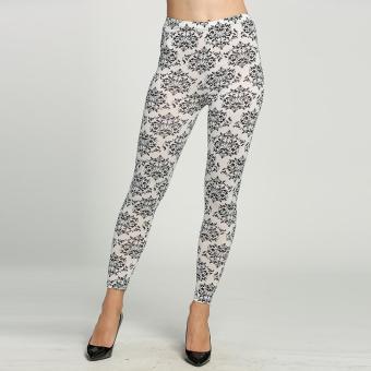 Elastic Printing Leggings Pencil Pants Stretch Skinny Leggings Tights Black/ White (White)