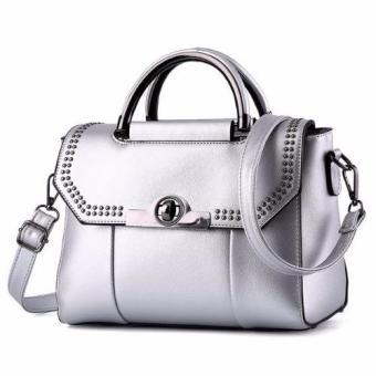 Vicria Tas Branded Wanita Korean High Quality Bag Style Poin SILVER .