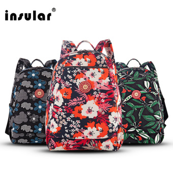 Harga Insular 6072 New 2017 Fashion Floral Printing Nylon Women Backpacks Girls School Bags Ladies Backpack Women Bags (Blue) - intl