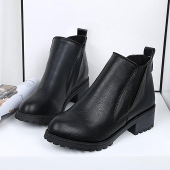 Harga New Womens Winter Ankle Boots Low Heels Fashion Boots Autumn Winter Boots Shoes - intl