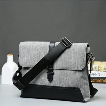 Harga New Oxford Cloth Canvas Satchel Shoulder Bag Practical Large Capability Hasp Crossbody Bag Schoolbag (Grey) - intl