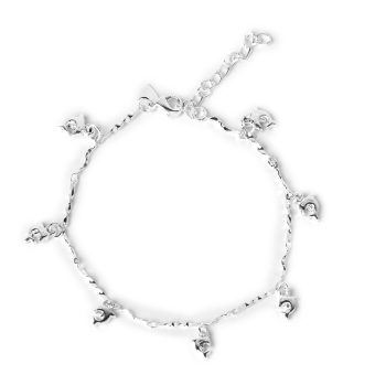 Harga BolehDeals Silver Plating Chain Ankle Bracelet with Dolphin