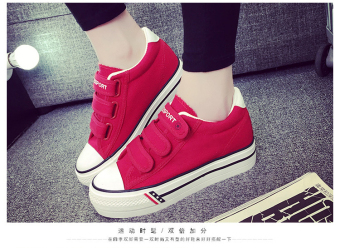 Harga Velcro canvas shoes women shoes casual shoes Korean students shoes board shoes walking shoes sports shoes - red - intl