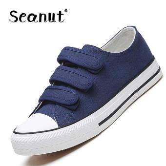 Harga Seanut Velcro canvas shoes women shoes casual shoes students shoes board shoes walking sports shoes (Blue) - intl